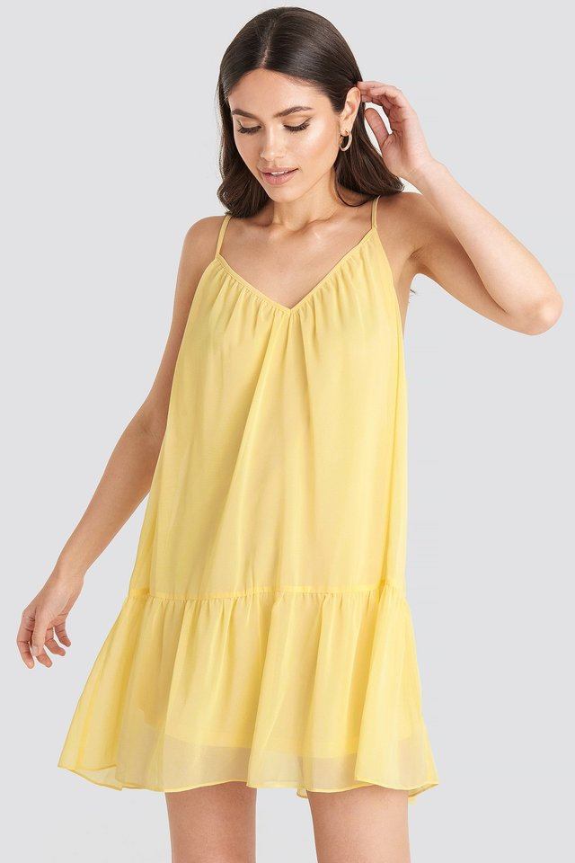 Light Yellow Thin Strap Short Dress