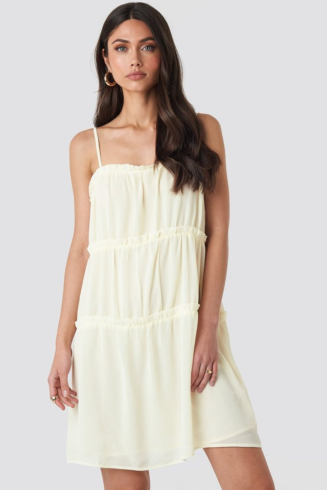 Thin Strap Tiered Mini Dress Cream