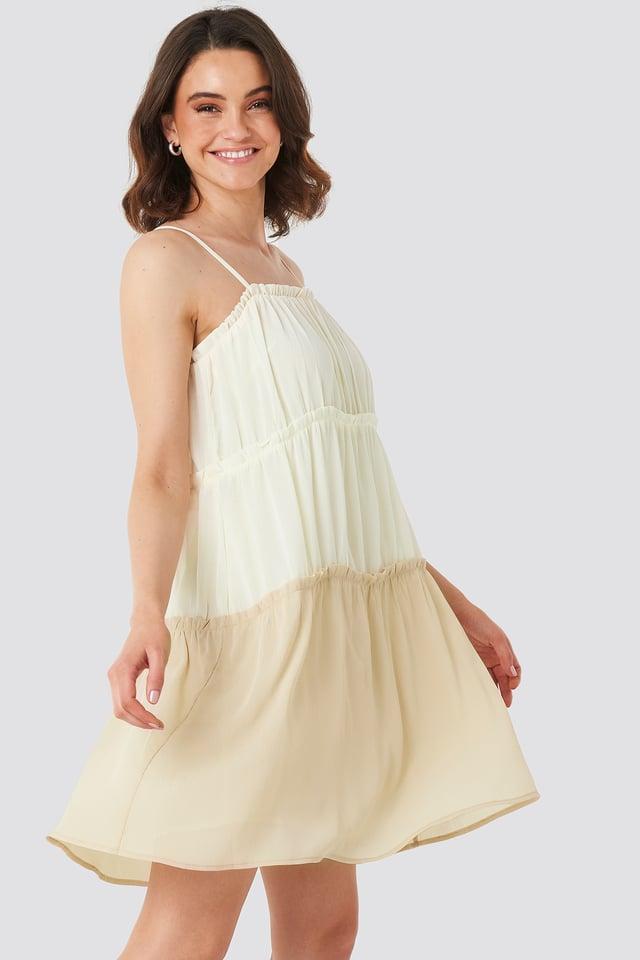 Thin Strap Tiered Mini Dress White/Beige
