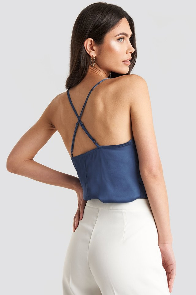 Thin Strap Woven Cross Back Singlet Dark Blue