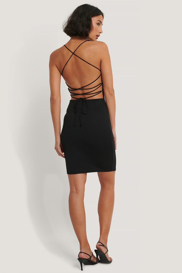 Thin Straps Mini Dress Black