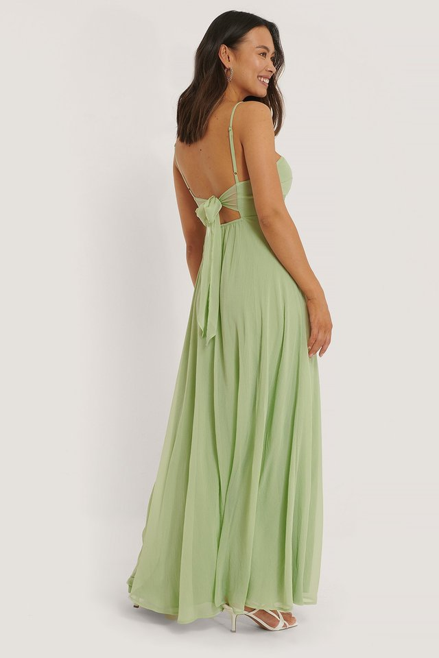 Tie Back Detail Maxi Dress Green