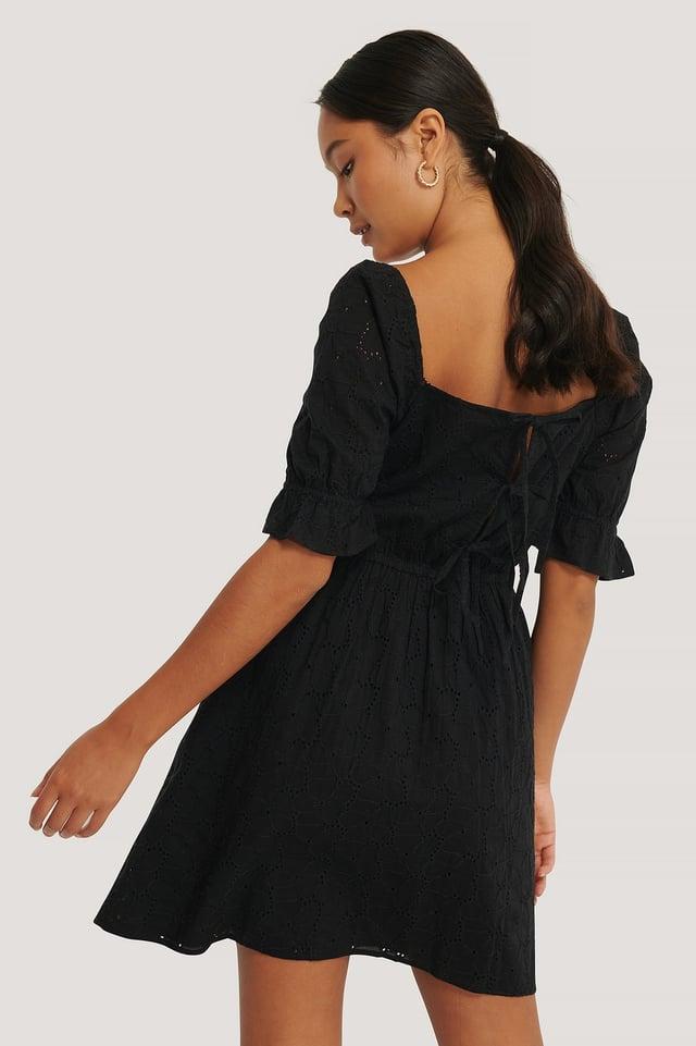 Black Tie Back Flower Anglaise Dress