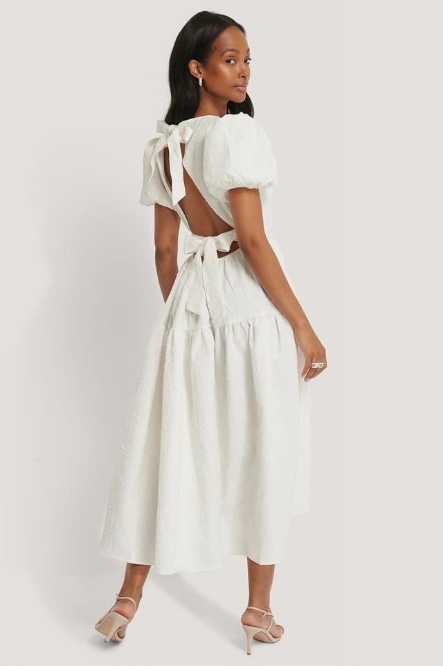 Tie Back Flower Structured Dress White