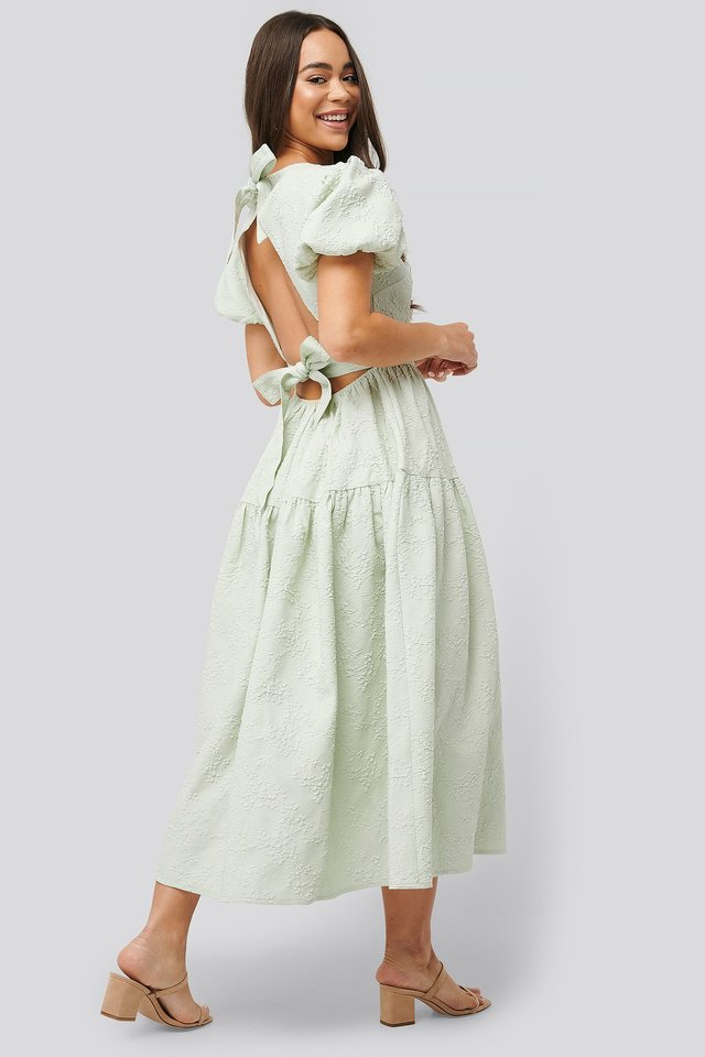 Tie Back Flower Structured Dress Light Green