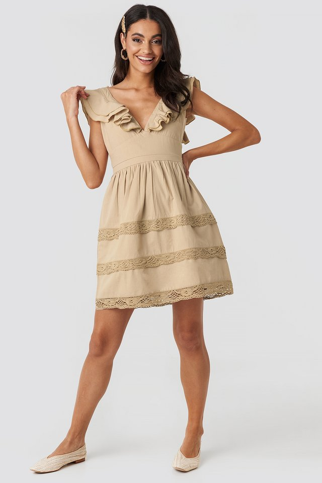 Tie Back Layered Flounce Dress Beige