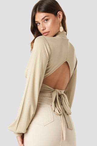 Beige Tie Back Turtle Neck Top