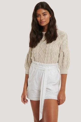 White Tie Belt Anglaise Shorts