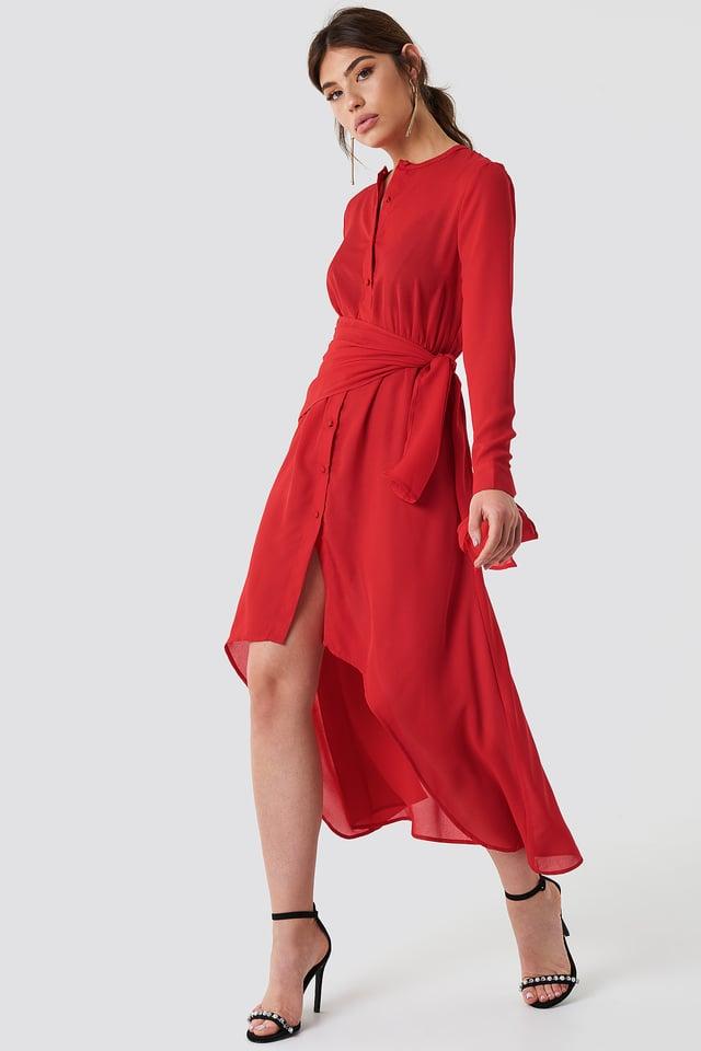 Asymetryczna sukienka z wiązaniem Red