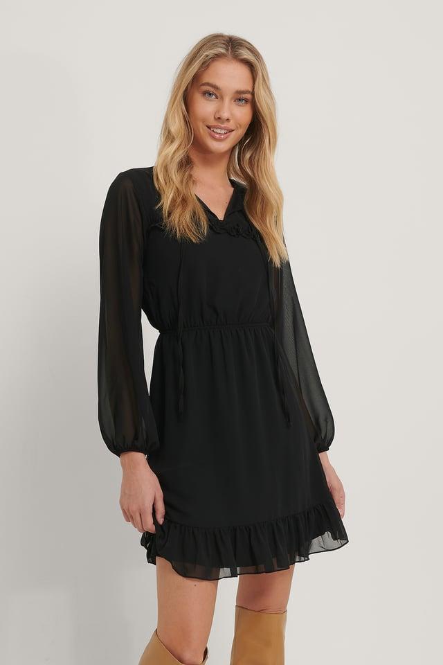 Tie Detailed Mini Dress Black
