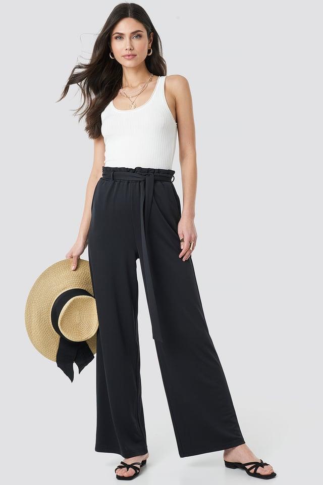 Tie Detail Paperbag Wide Pants Black