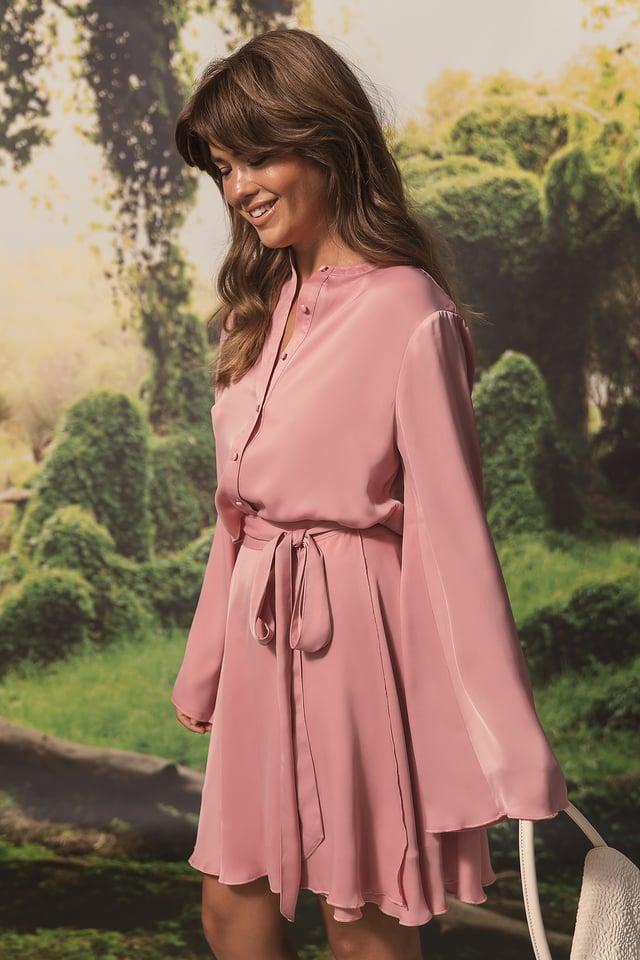 Tie Detailed Flowy Skirt Pink