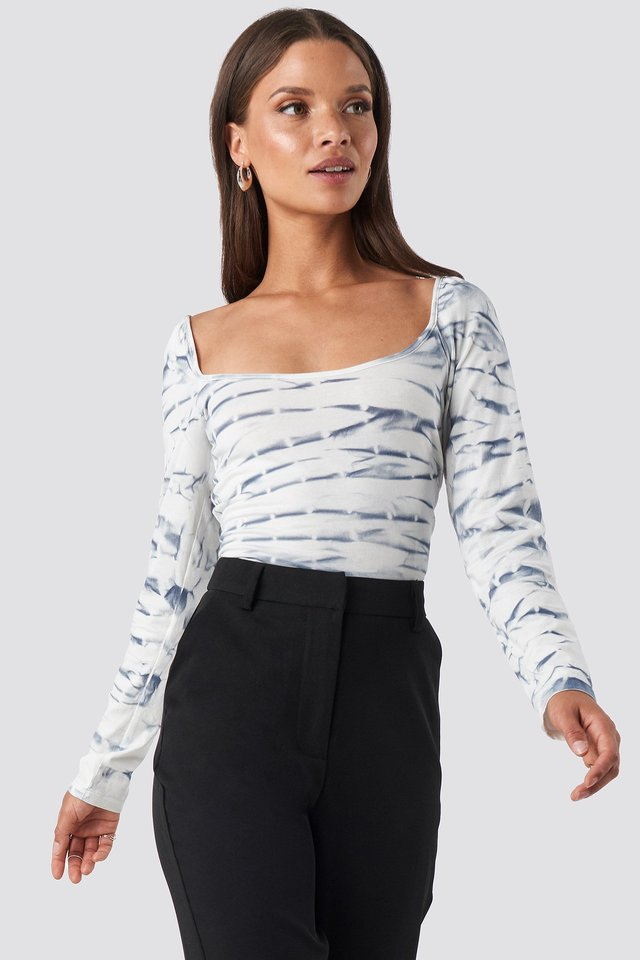 Tie Dye Long Sleeve Top Blue