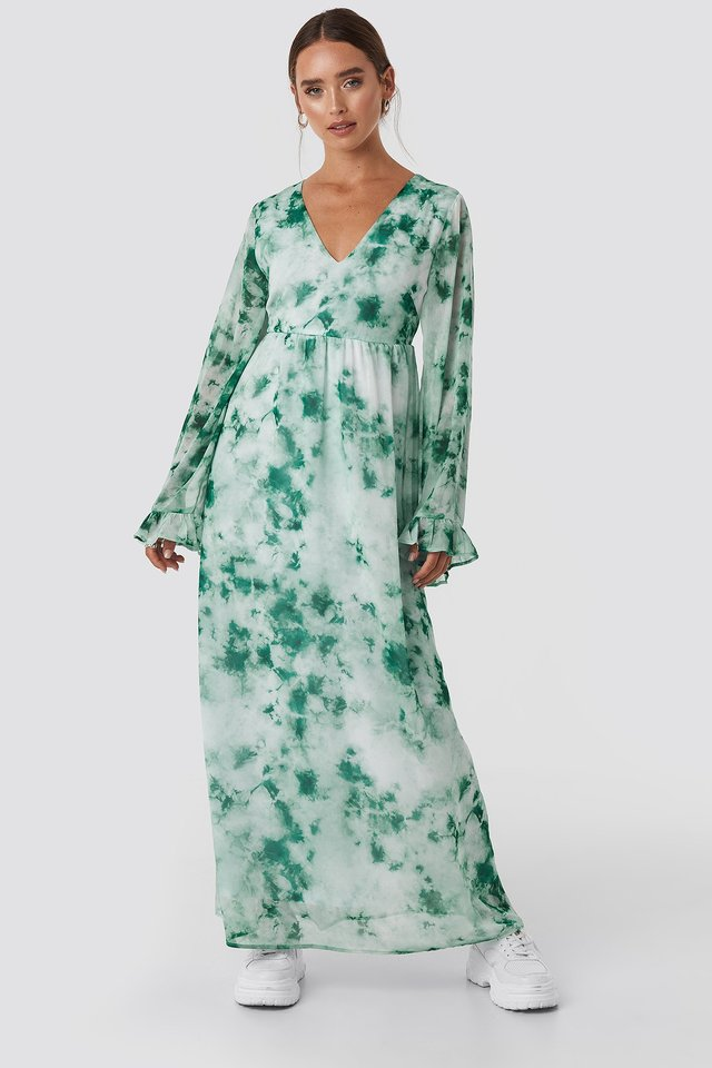 Green Tie Dye Maxi Dress