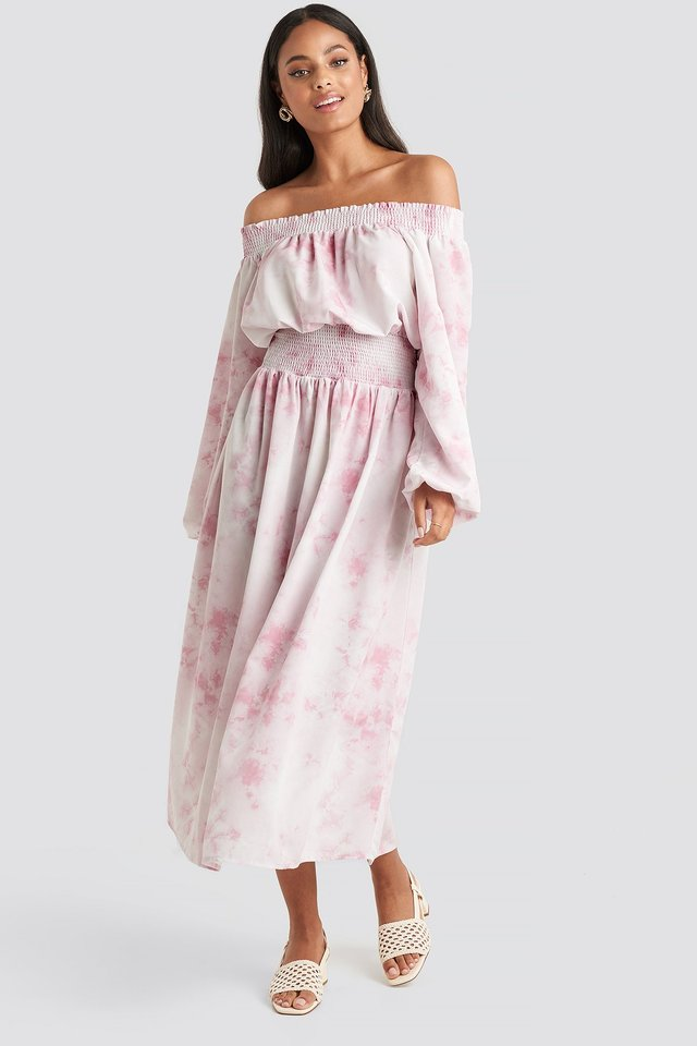 Tie Dye Off Shoulder Midi Dress Beige