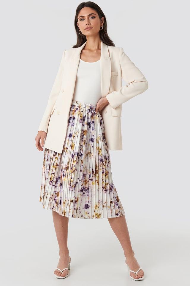 Beige Tie Dye Print Pleated Midi Skirt