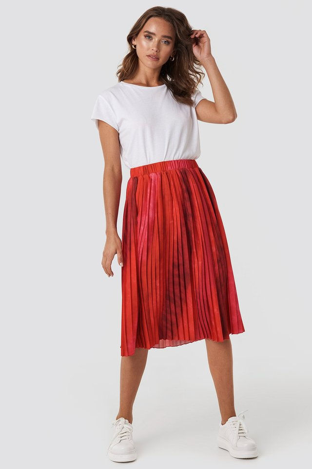 Tie Dye Print Pleated Midi Skirt Red