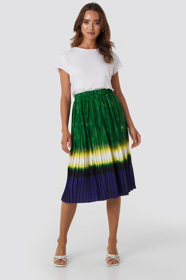 Tie Dye Print Pleated Midi Skirt Green