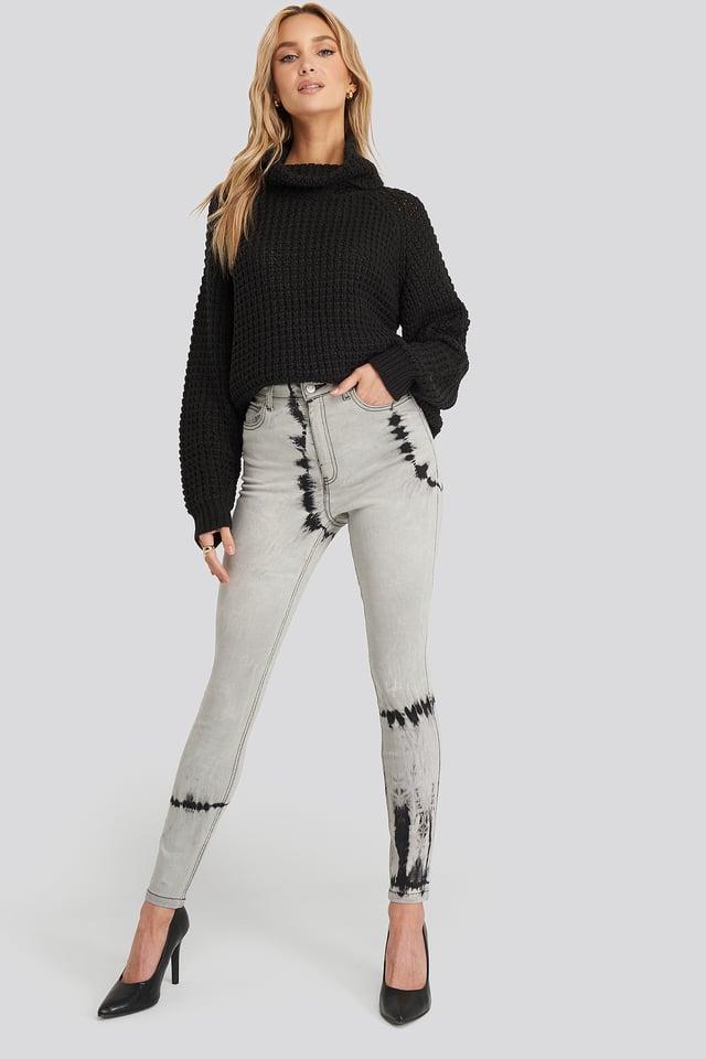 Grey Tie Dye Skinny Jeans