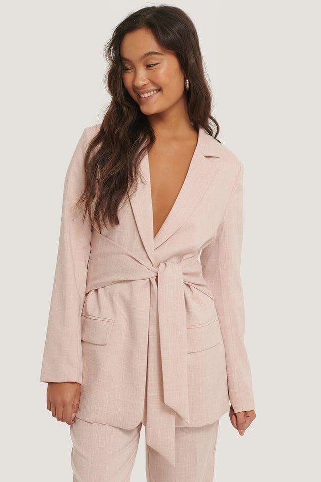 Pink Tie Front Blazer