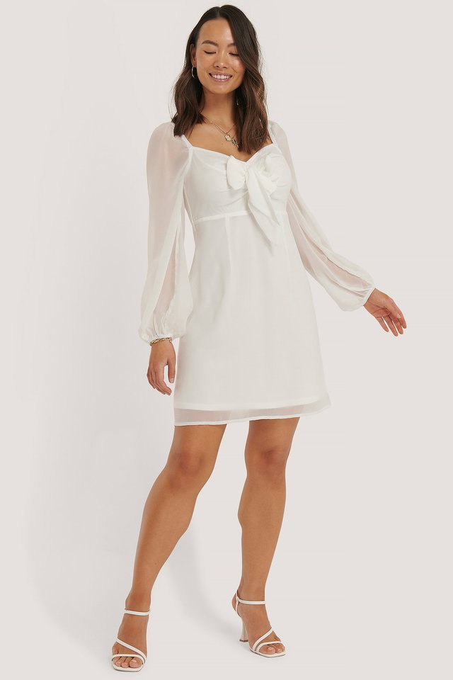 Tie Front Detail Dress White