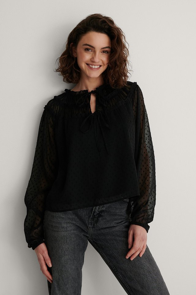 Black Tie Front Dobby Blouse