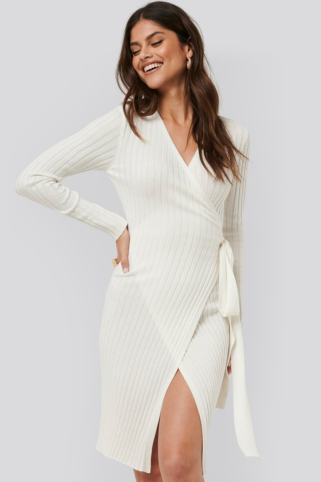 Tie Front Knit Dress White