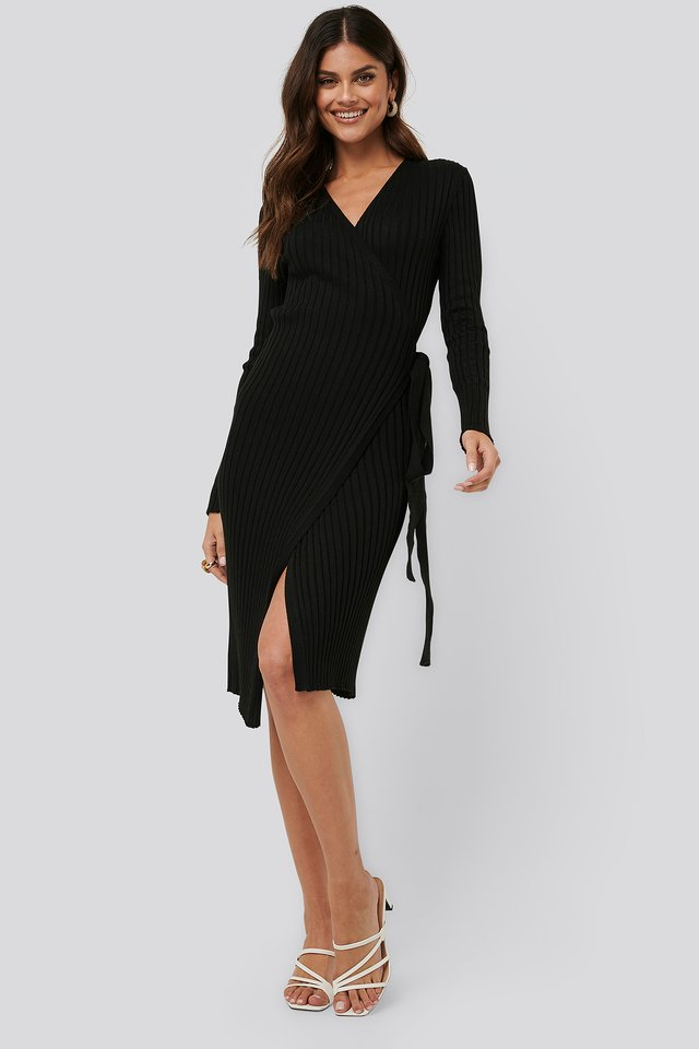 Tie Front Knit Dress Black