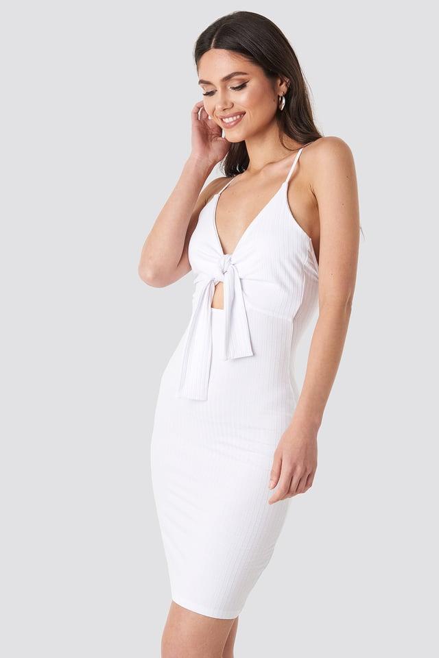 Tie Front Ribbed Midi Dress White