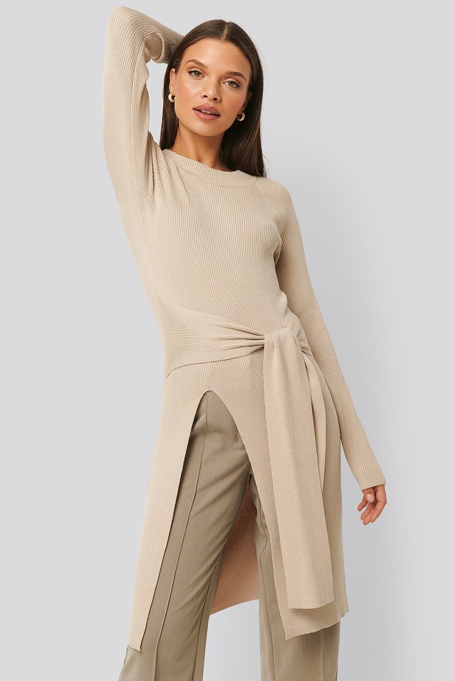 Tie Front Ribbed Sweater Sand