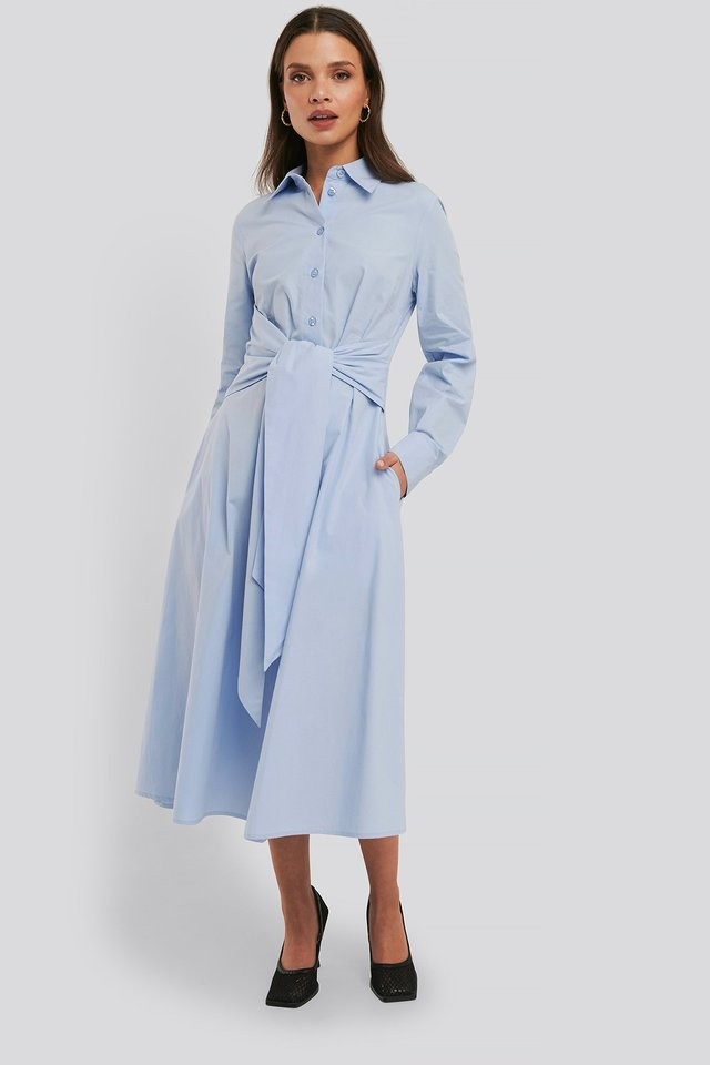 Blue Tie Front Shirt Dress