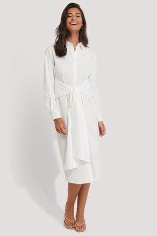 White Tie Front Shirt Dress