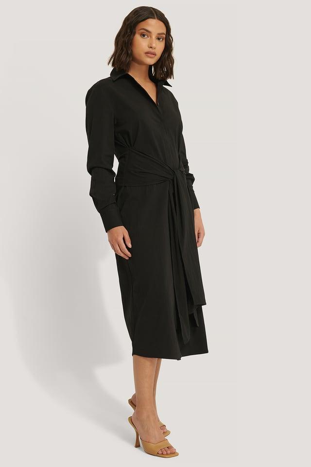 Black Tie Front Shirt Dress
