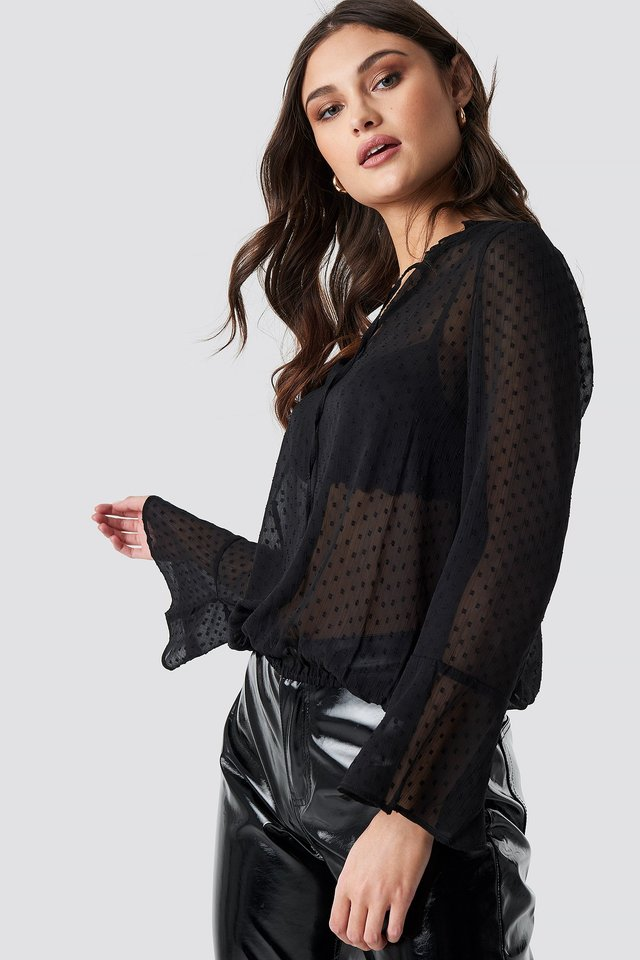 Tie Neck Keyhole Sheer Blouse Black