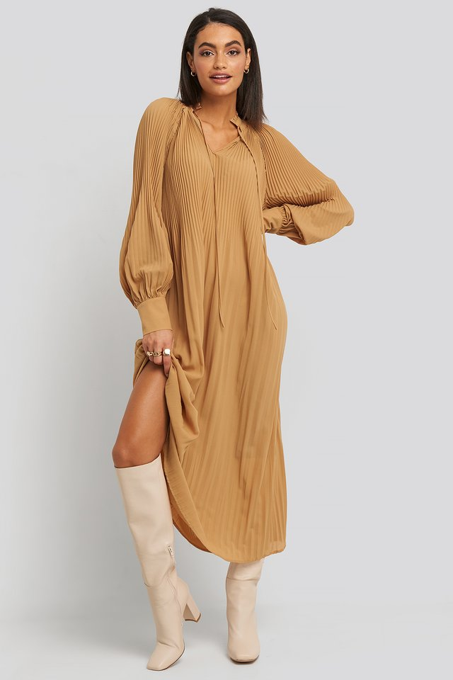 Tie Neck Pleated Dress Beige