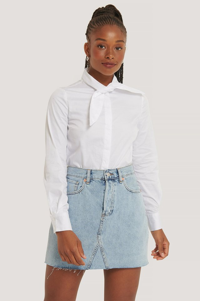 White Tie neck Shirt