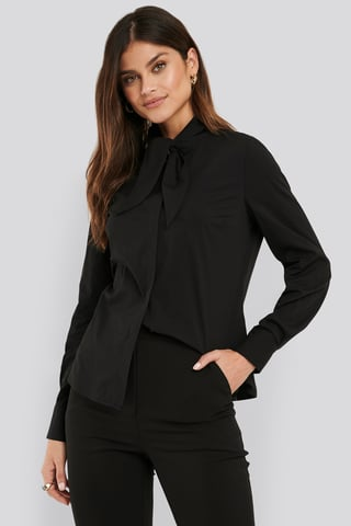 Black Tie neck Shirt