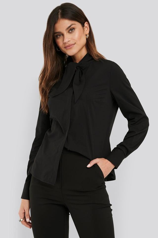 Black Tie neck Shirt