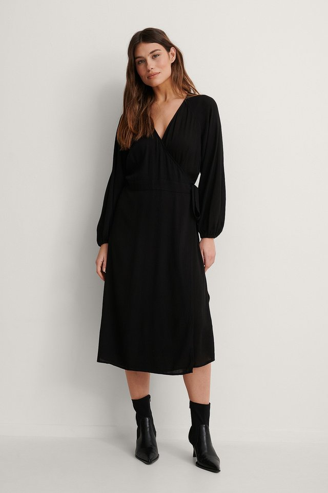 Black Tie Overlap Midi Dress