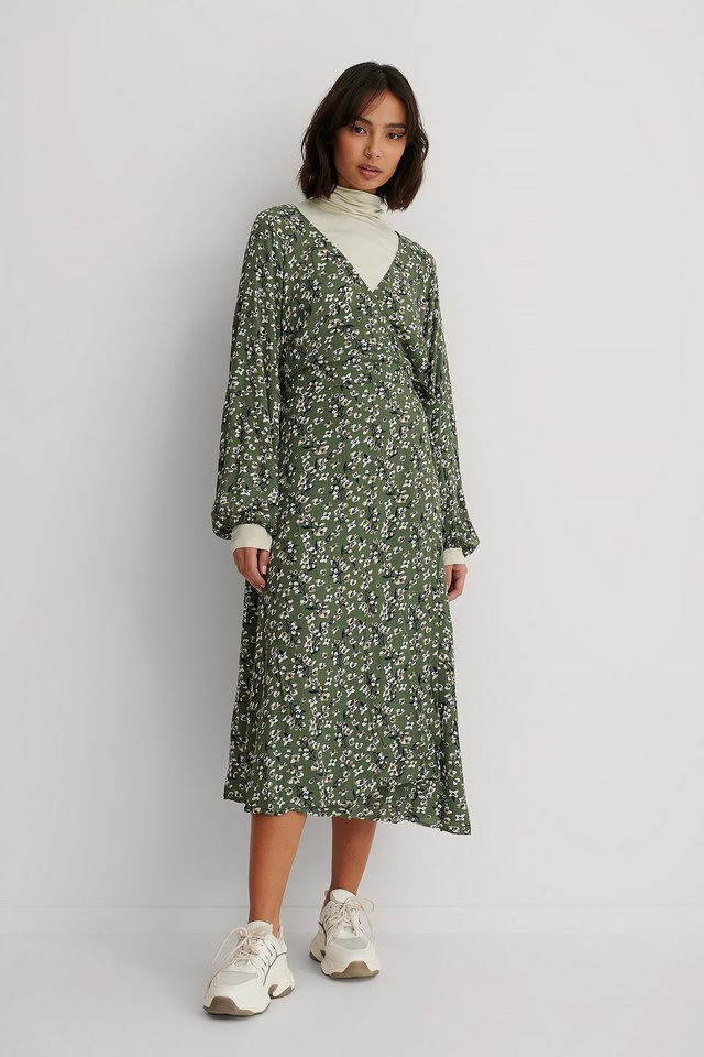 Tie Overlap Midi Dress Green Flower