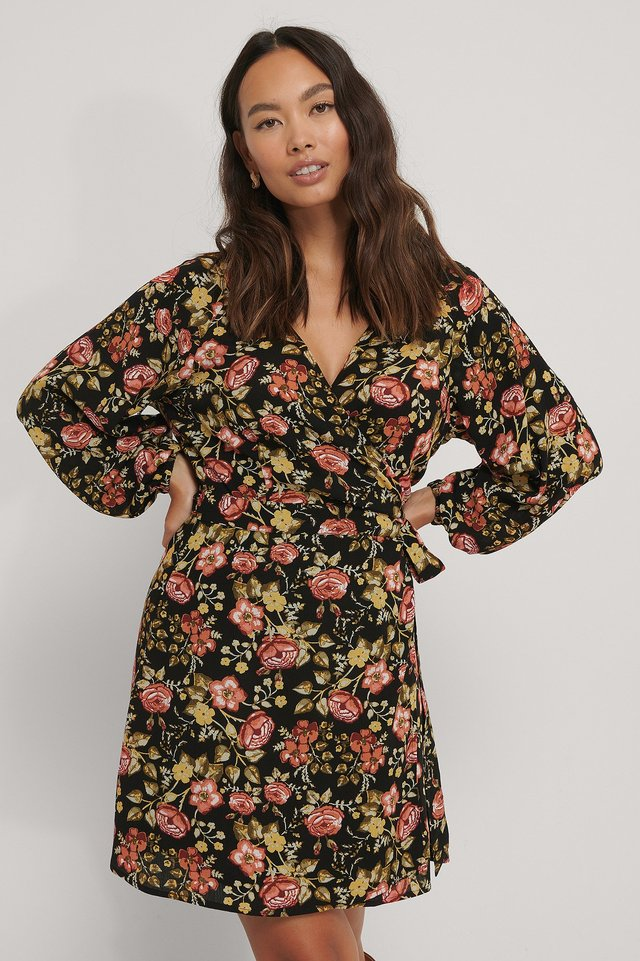 Tie Overlap Mini Dress Black Flower Print