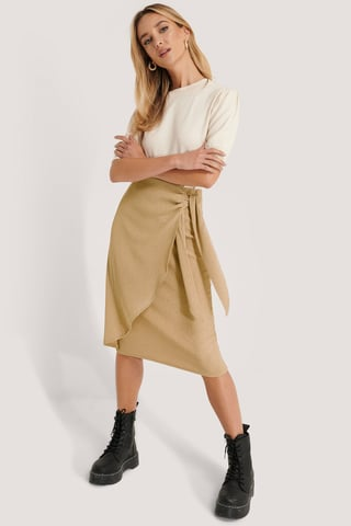 Beige Tie Side Midi Skirt