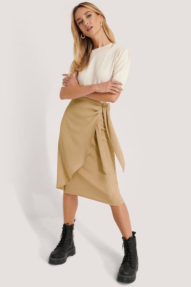 Tie Side Midi Skirt Beige