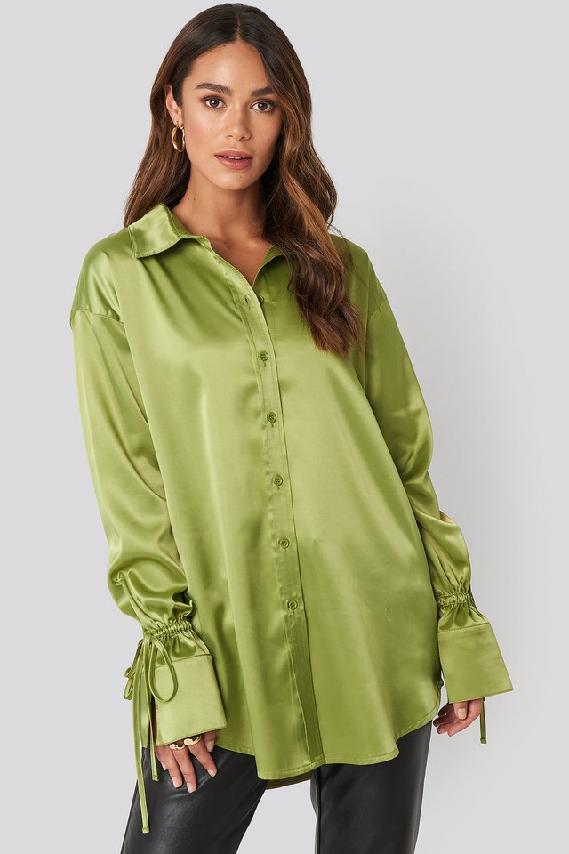 Tie Sleeve Satin Shirt Green