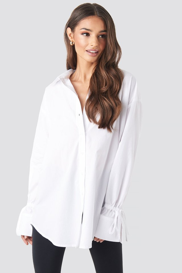 Tie Sleeve Shirt White