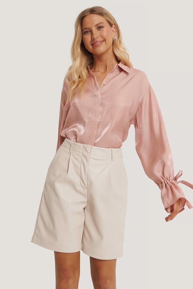 Tie Sleeve Shirt Dusty Light Pink