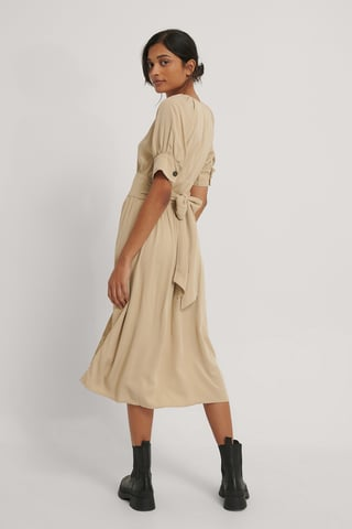 Beige Tie Waist Buttoned Midi Dress