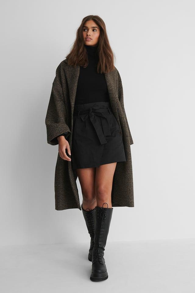 Black Tie Waist Cargo Skirt