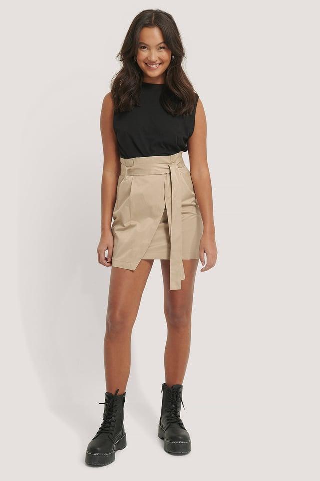 Tie Waist Cargo Skirt Beige