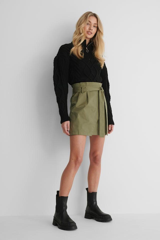 Khaki Tie Waist Cargo Skirt